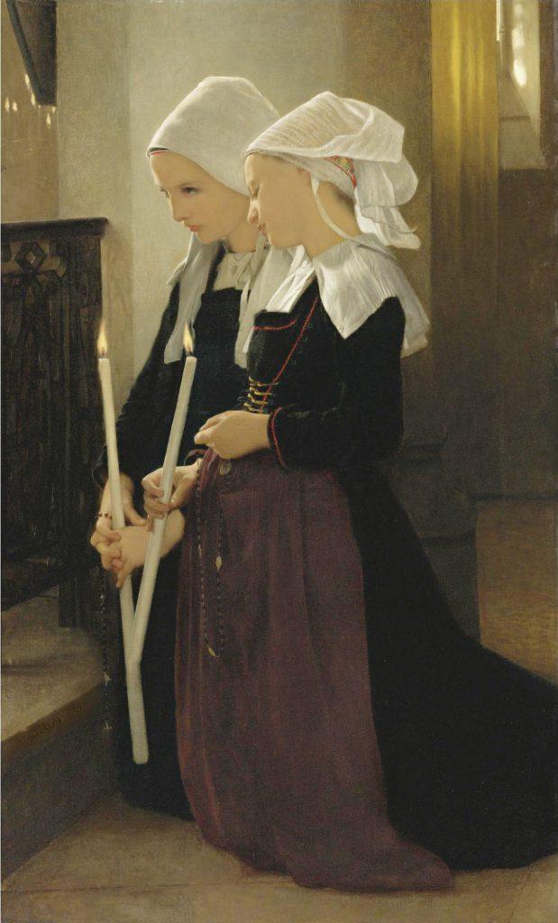 La modestie parfaite de deux jeunes Bretonnnes priant le rosaire il y a 150 ans.