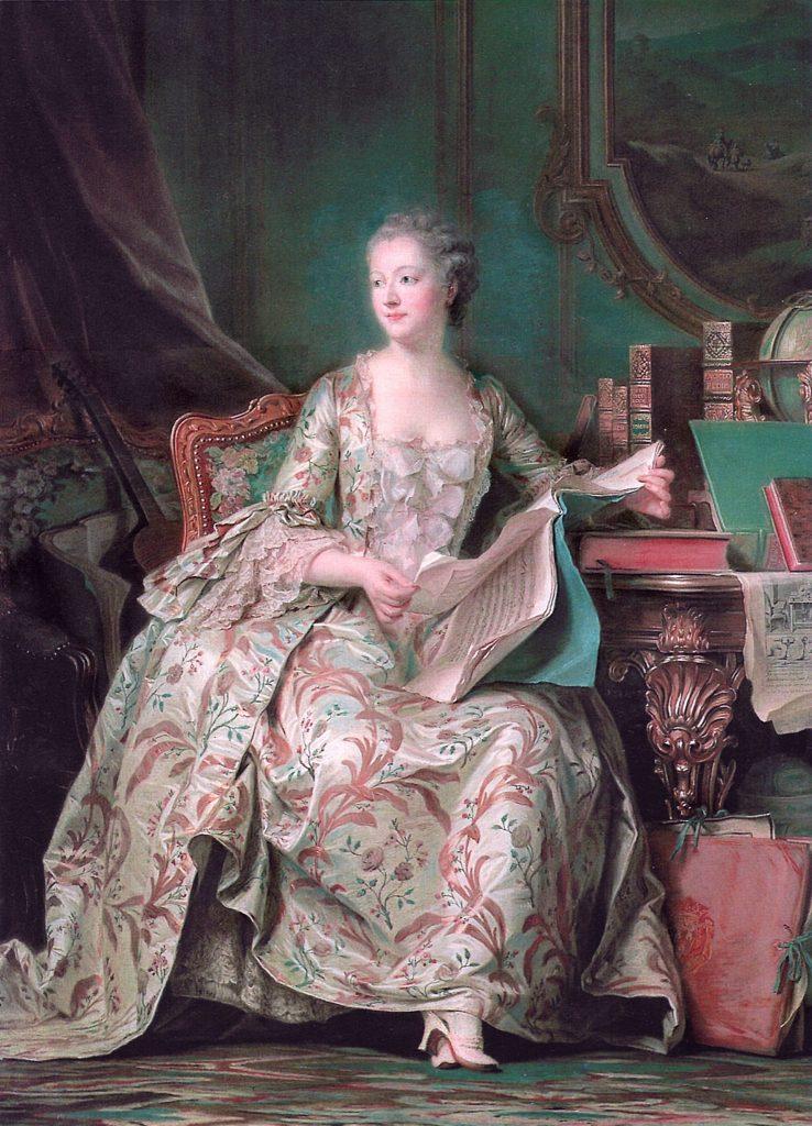 Robe longue au XVIIIième siècle ,mais les grands décolletés apparaissent
