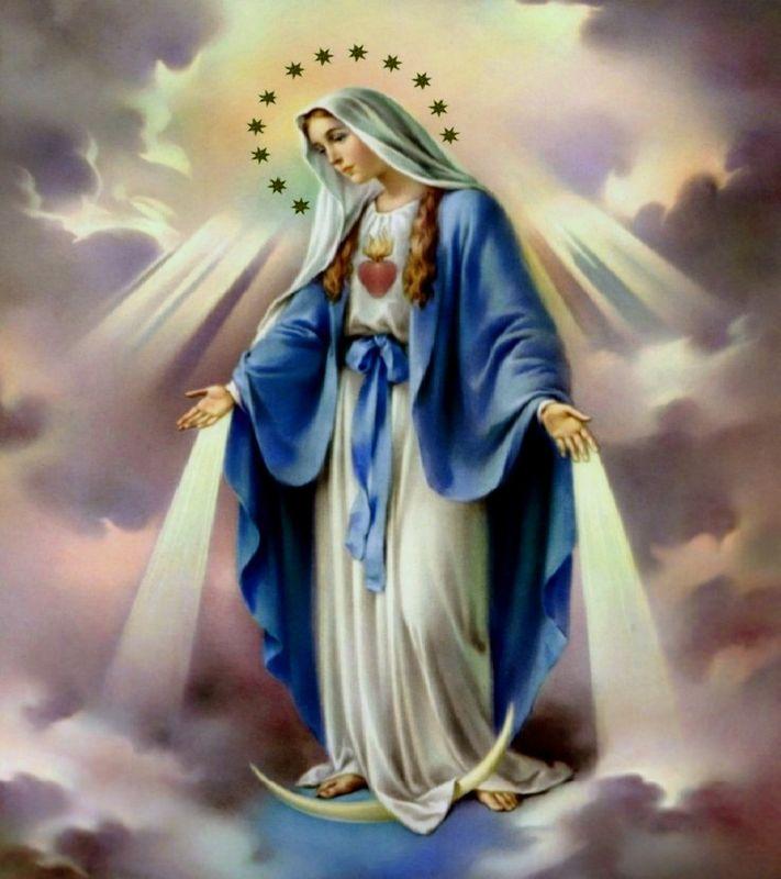 Image de la Sainte Vierge, habillée d'un ample et modeste vêtement et envoyant ses grâces vers la Terre.