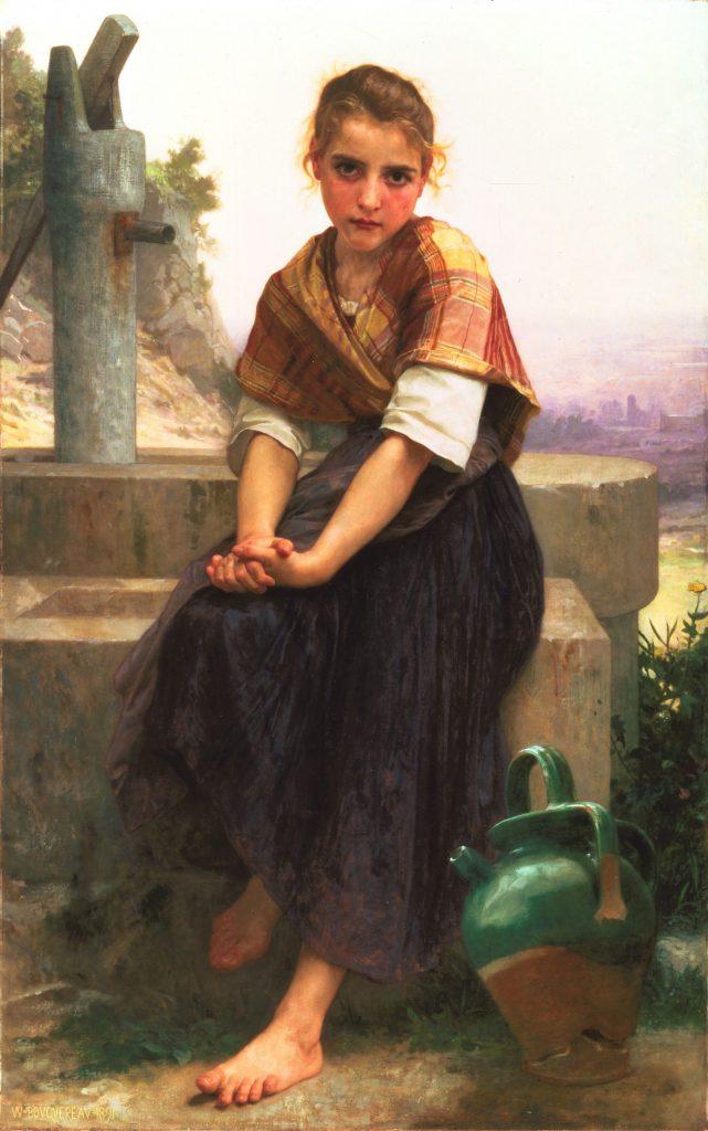 Jeune fille modestement vêtue, avec châle et longue jupe: la féminité naturelle...